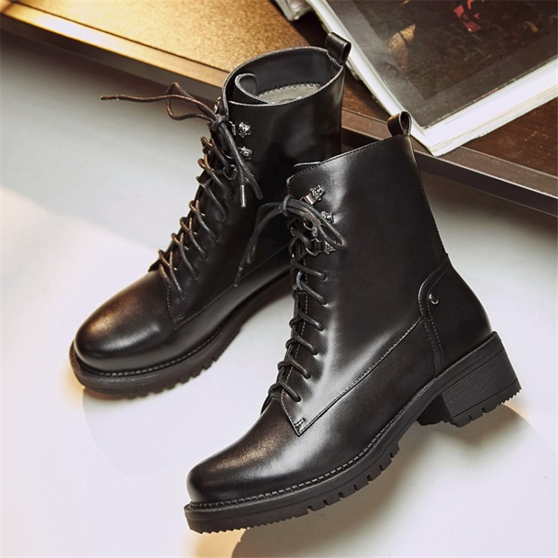 2017 New Fashion Autumn Winter Genuine Leather Women Ankle Boots Brand Quality Black Woman shoes Lace-Up Snow Boots Size 34-43 high quality full cow skin genuine leather flat casual ankle boots women 2016 black white lace up fashion autumn walking shoes