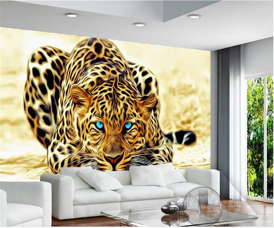 Custom 3d photo wallpaper mural living room wall sticker animal leopard tiger golden picture 3d wall mural wallpaper for wall 3d 3d mural customized graffiti wallpaper america statue of liberty marilyn monroe wall mural 3d room wall paper for living room