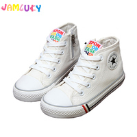 Kids Shoes For Girl Children Canvas Shoes Boys Sneakers 2017 Spring Autumn White High Solid Fashion
