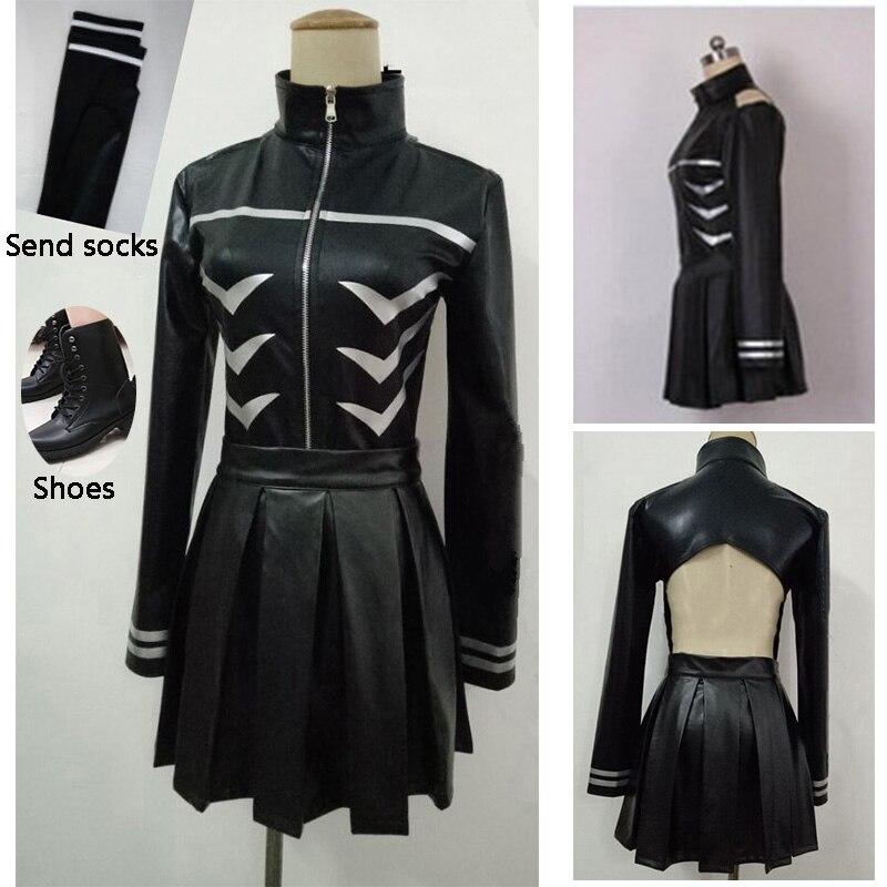4PCS Tokyo Ghoul Kaneki Ken Girl Uniforms Female Ken Kaneki Cosplay Costume Jacket Skirt Stockings Shoes Free Shipping Halloween