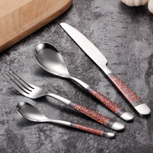 Western Stainless Steel Flatware Sets Red Blue Flowers Engraving Forks Knives Spoons Tableware Picnic Camping Dinnerware Sets