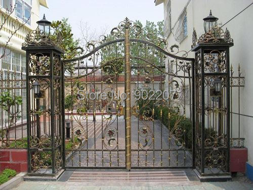 Henchuang custom wrought iron gate forged iron gate villa wrought iron gate ...