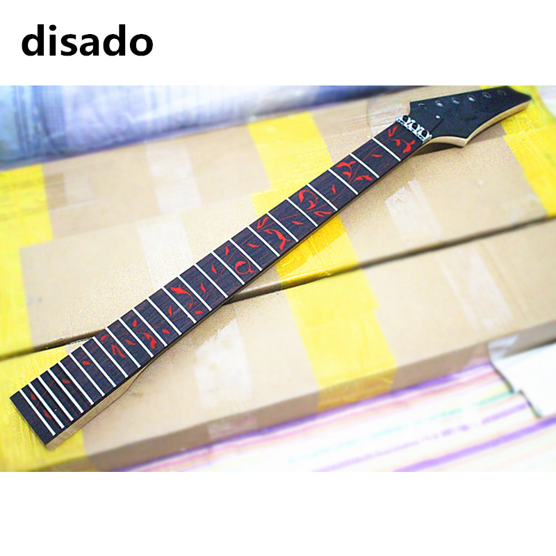 disado 24 Frets maple Electric Guitar Neck rosewood fingerboard inlay red tree of life black headstock Guitar accessories parts disado 24 frets inlay dots maple electric guitar neck maple fingerboard wood color black headstock guitar accessories parts