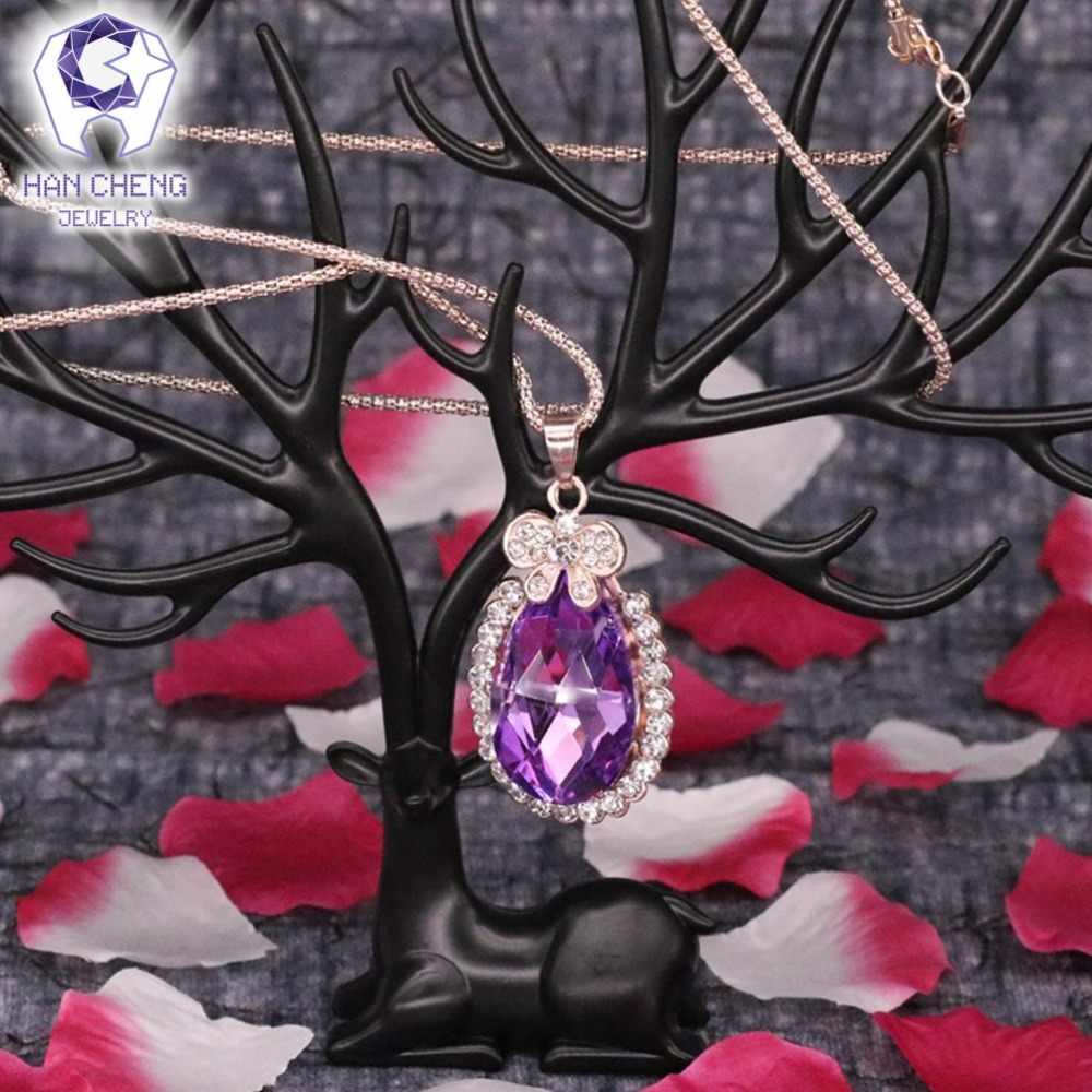 ファッション水滴ラインストーン作成クリスタルネックレス & ペンダントメッキゴールドチェーンロングステートメントネックレスの女性ジュエリー