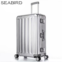 цена на SEABIRD 100% All Aluminum Luggage Hardside Rolling Trolley Luggage travel Suitcase 20 Carry on Luggage 22 26 30 Checked Luggage