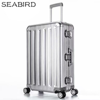 SEABIRD 100% All Aluminum Luggage Hardside Rolling Trolley Luggage travel Suitcase 20 Carry on Luggage 22 26 30 Checked Luggage