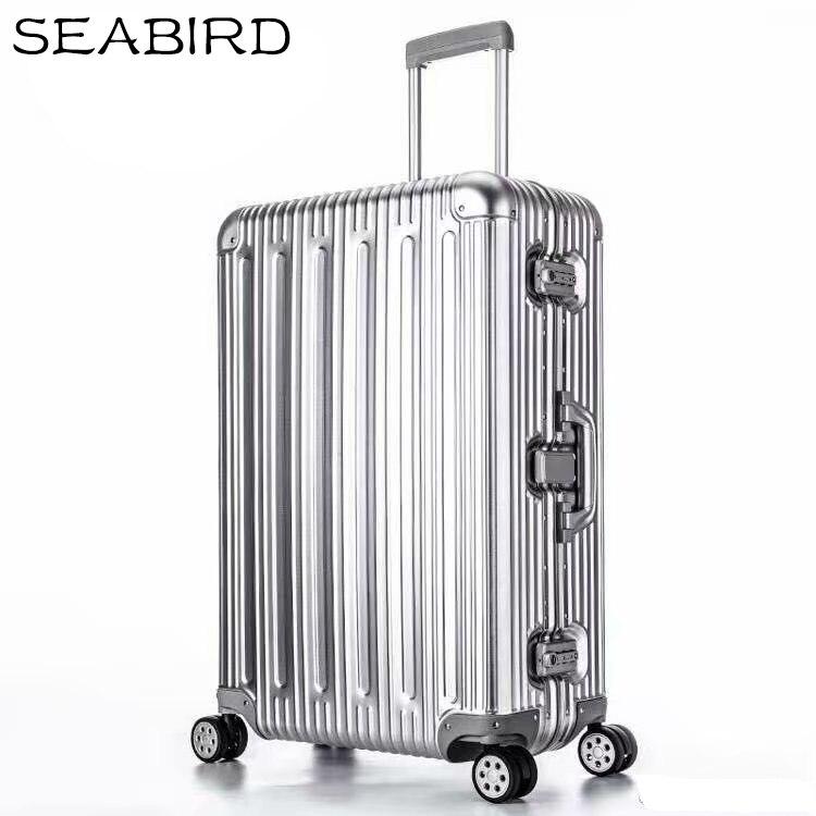 Seabird 100% toda a bagagem de alumínio hardside rolando trole bagagem mala de viagem 20 carry on bagagem 22 26 30 bagagem verificada