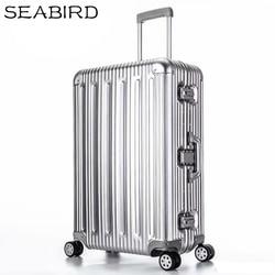 ZEEVOGEL 100% Alle Aluminium Bagage Hardside Rollende Trolley Bagage reizen Koffer 20 Handbagage 22 26 30 Gecontroleerd Bagage