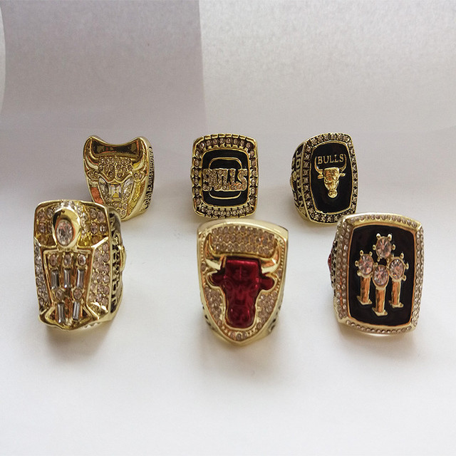 6 PCS 1991 1992 1993 1996 1997 1998 Michael Jordan Chicago Bulls Replica Championship Basketball Champion