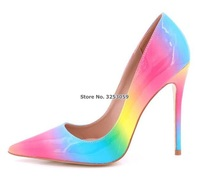 ALMUDENA New Spring Summer Rainbow Gradient Color Pointed Toe Pumps Stiletto Heels 12cm Multi color Patent Leather Wedding Shoes