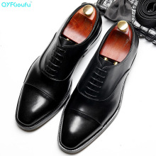 QYFCIOUFU 2019 Lace-up Men Shoes Formal Genuine Leather Business Casual Shoes Men Dress Office Luxury Shoes Breathable Oxfords цена 2017