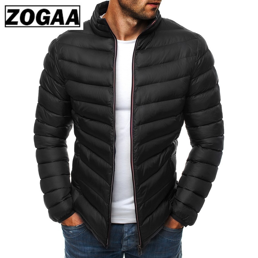 ZOGAA Men Parkas 2019 Spring Winter Jacket Casual Puffer Coat Solid Color Zipper Silm Fit Plus Size Man Jacket Winter Warm
