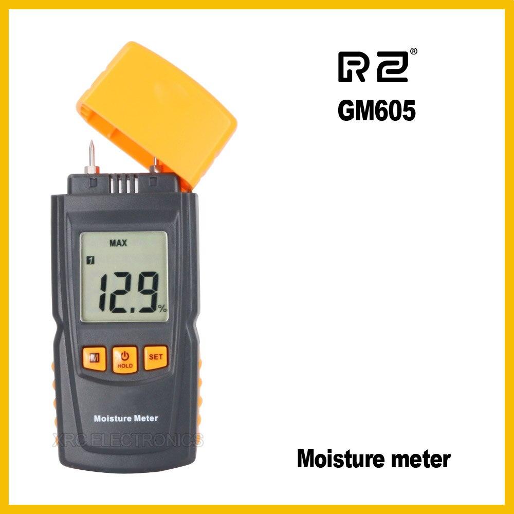 RZ EMT01 Portable Wood Moisture Meter Hygrometer Timber Tree Density Digital Electrical Tester Measuring tool GM605 inductive wood tree timber digital moisture meter with bag md918 4 80