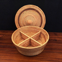 4 Lattices Organizer Vietnam Rattan Woven Handmade Separator Storage Boxes Dry Fruit Candy Snacks Dessert food box tea tin gift