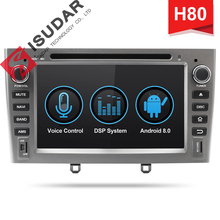 Isudar H80 Car Multimedia player Android 8.0 2 Din Autoradio For Peugeot 308/408 For Parrot Bluetooth Voice Control DSP GPS DVR isudar wince usb mini dab receiver antenna for europe for isudar windows ce 6 0 car dvd player