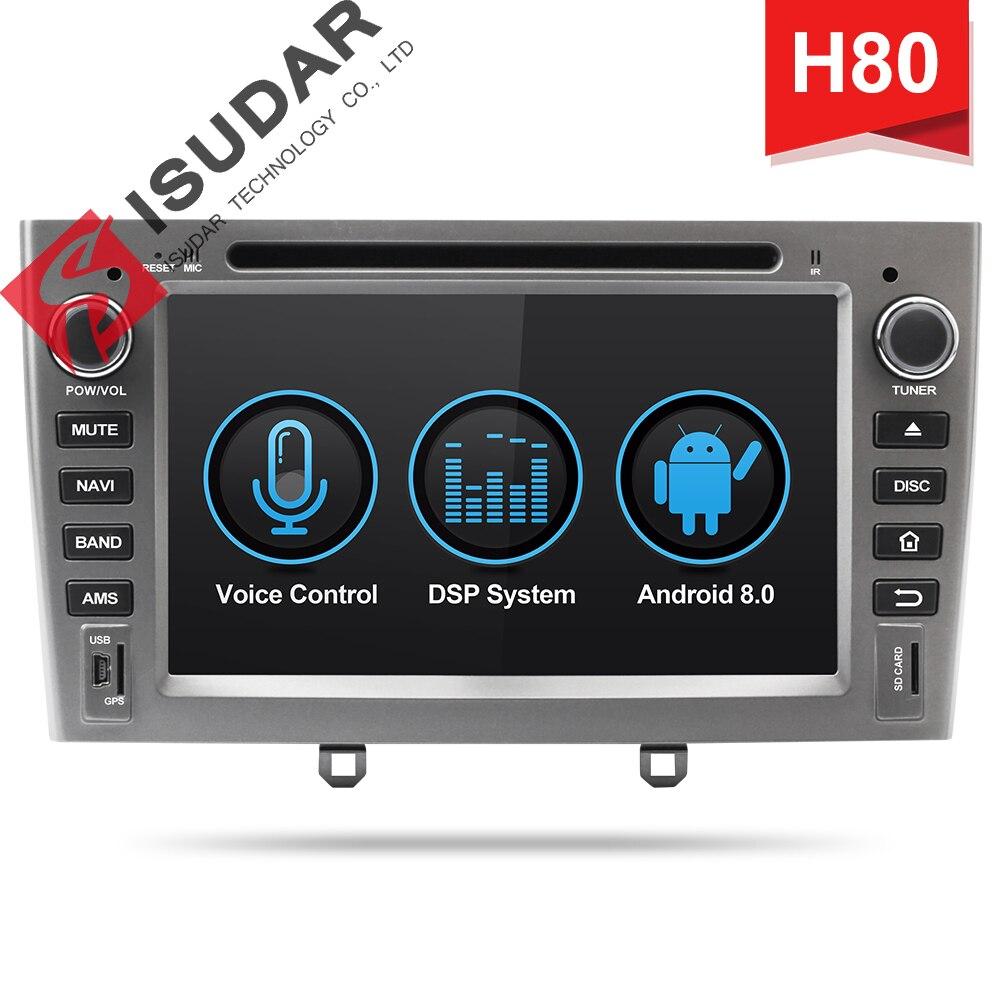 Isudar H80 reprodutor multimídia Carro Android 8.0 Din Autoradio Para Peugeot 308/408 Para Parrot 2 DSP Controle De Voz Bluetooth GPS DVR
