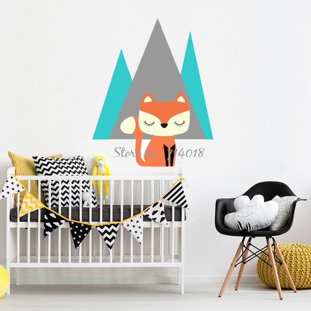 Cartoon Fox Mountain Kids Wall Stickers, 3D Wall Poster Girls Boys Bedroom  Wall Decor Woodland