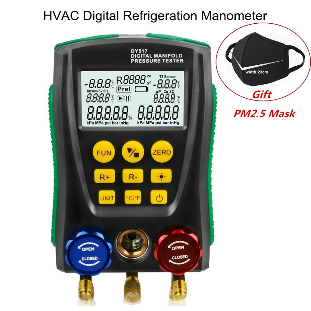 DY517 Pressure Gauge Refrigeration Digital Vacuum Pressure Manifold Tester Meter HVAC Temperature Tester