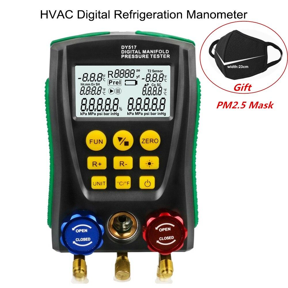 DY517 Manifold Tester Medidor De Pressão De Vácuo Medidor de Pressão Digital De Refrigeração HVAC Tester Temperatura