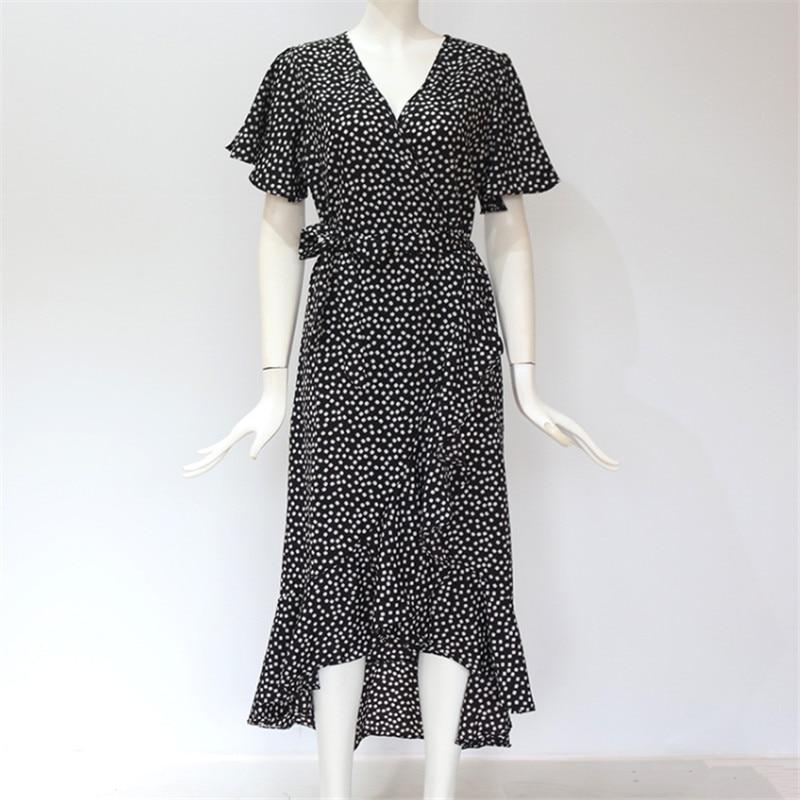 BOHO Womens Ladies Summer Holiday Polka Dot Long Dress V-neck Beach Sundress UK