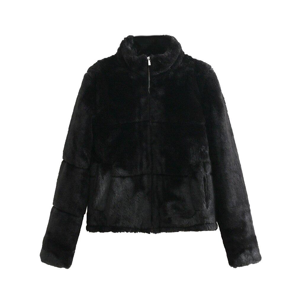 En Artificielle Femmes De 2018 noir Blanc Stand Manteau Blanc Des Fausse Veste Col D'hiver Fourrure wqaxnt