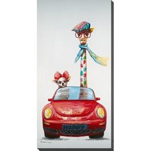 handpainted large deer canvas oil painting colorful giraffe and dog Driving a car on art for living room