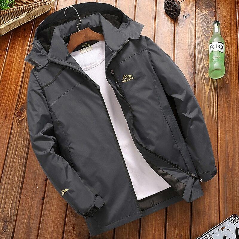 2019 Male Raincoat Windproof Hooded Coat Men's Casual Waterproof Jacket Spring Autumn Tourism Windbreaker Bomber Jacket 4XL