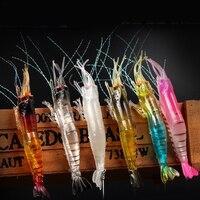 6pcs/lot Pink Shrimp Soft Lure Pink Artificial Bait Wiht Hook Noctilucence Fishing Lure Fishing Lures     -