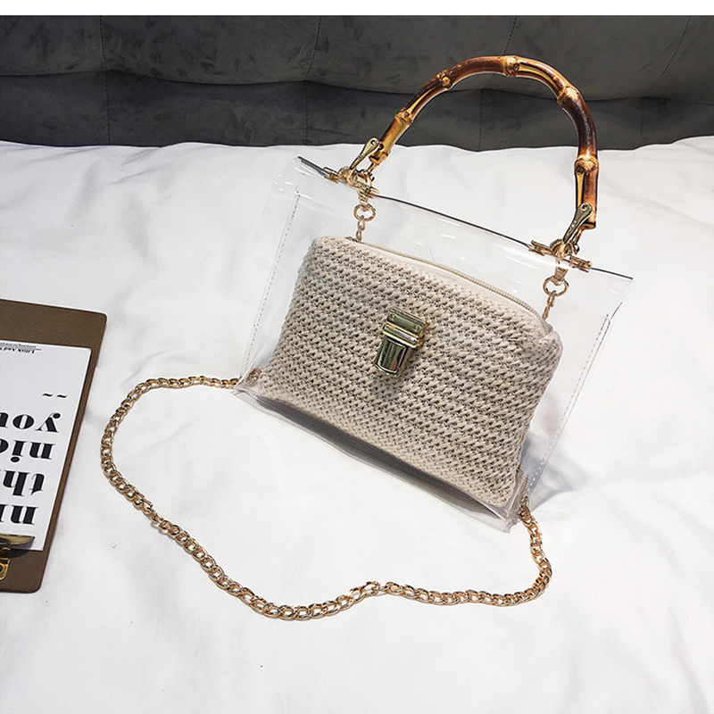 0f752f6fe3 US $13.51 49% OFF|LEFTSIDE Transparent Bag For Women 2019 Handbag With  Bamboo Handle Summer Small Chain Crossbody Bags Ladies Straw Beach Bags-in  ...