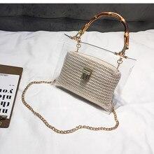 190418c58 Izquierdo bolsa transparente para las mujeres 2019 bolso de mano con mango  de bambú de verano pequeña cadena bolso de mujer Bols.