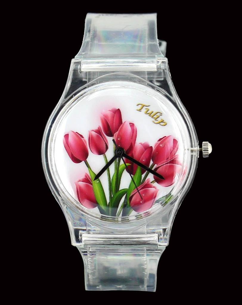 Rose Flower / Tulip / Butterfly Sieviešu Sieviešu Pulksteņi Krāsains Krāsa Caurspīdīga josla Ikdienas sporta kvarca rokas pulkstenis