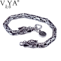 Wholesale Genuine 100 Real Pure 925 Sterling Silver Thick Men Bracelet Dragon Bracelet Free Shipping Men