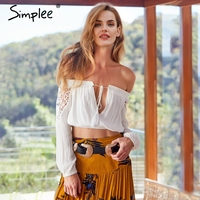 Simplee Lace Up Off Shoulder Camisole Tank Top Women Summer Style Crop Top Female 2018 Streetwear