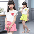 Summer Girls Two Pieces Suits Shirt-skirt Lace Pearl Bubble Sleeve Dress Kids Clothing Pink Yellow Purple