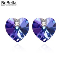 BeBella, 15 цветов, серьги-гвоздики с кристаллами в форме сердца, с элементами Swarovski для женщин, модные ювелирные изделия для девочек, подарок