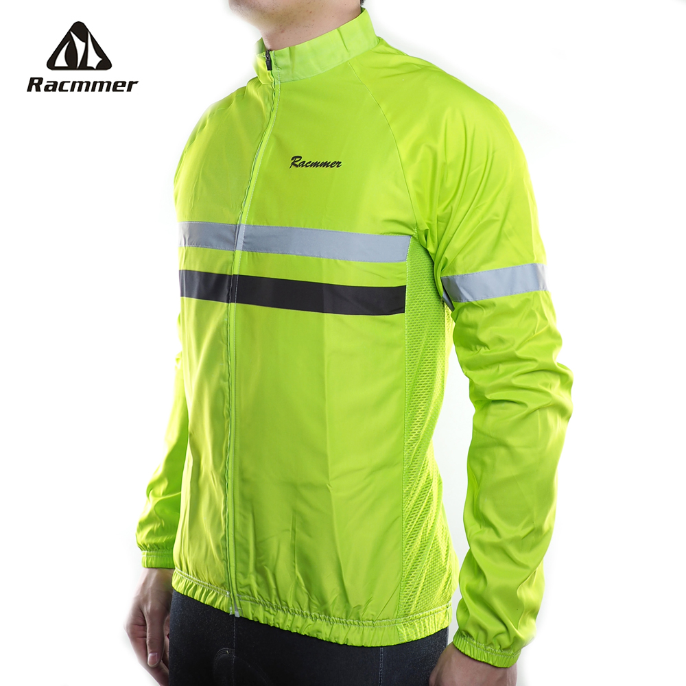 Racmmer 2018 Men Windbreaker Jacket Reflective Cycling Jersey Long Sleeve Windstopper Clothing Bicycle Bike Windproof Jacket MTB