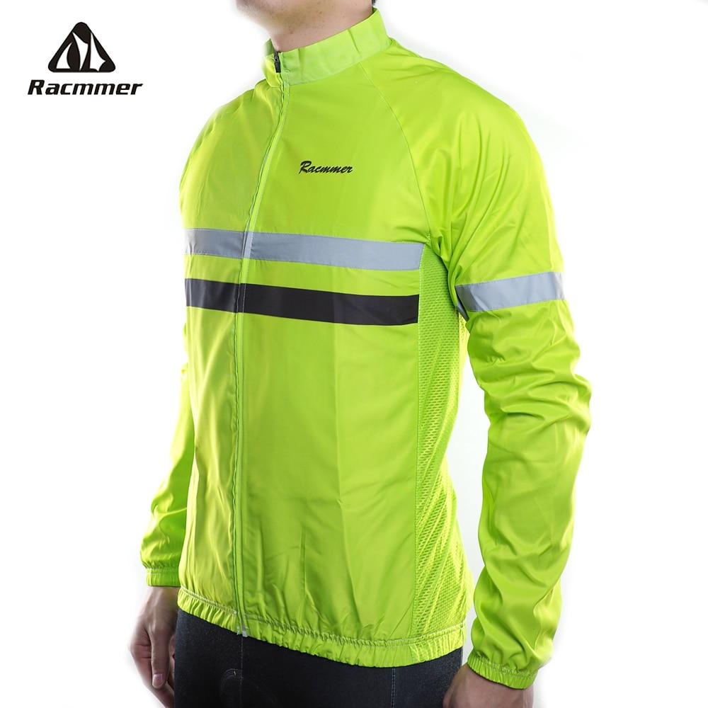 Racmmer 2019 Men Windbreaker Jacket Reflective Cycling Jersey Long Sleeve Windstopper Clothing Bicycle Bike Windproof Jacket MTB