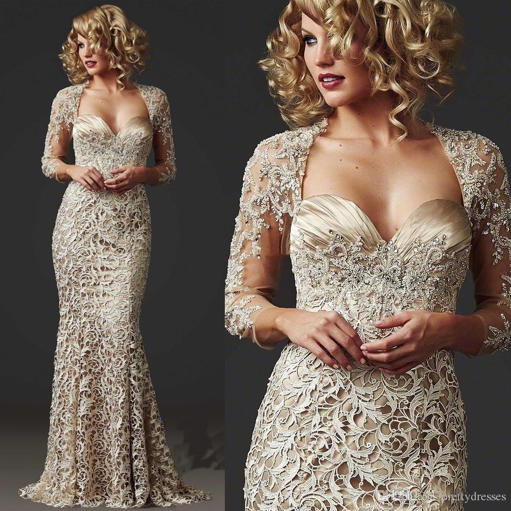2018 Lace Mermaid Formal Evening Party Gown 3/4 Long Sleeve Custom Beads Ladies Floor Length Champagne Mother Of The Bride Dress