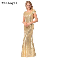Wez Loyal Sexy Club Evening Party Long Dress 2018 Neck Gold Shine Sequin Sparkle Elegant Formal