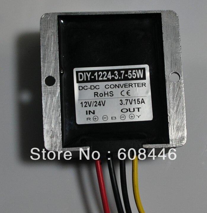 Converter DC12V 24V 36V (6V-40V) convert to 3.7V 15A 55W output Waterproof DC DC buck for car RoSH dc dc converter dc12v 9 14v to dc15v 15a 225w