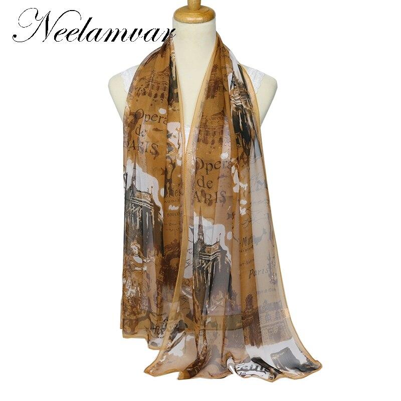 eb9c8fa01 New Design Oil painting Eiffel Tower Georgette Chiffon Scarf for Women  Polyester Silk Scarf thin Shawl fashion