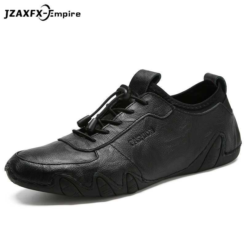 Men Casual Shoes 2018 New Men Genuine Leather Shoes Spring Sneakers Men Footwear Slip On Rubber Driving Shoes Fashion Lace-Up