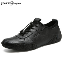 Men Casual Shoes 2018 New Men Genuine Leather Shoes Spring Sneakers Men Footwear Slip on Rubber Driving Shoes Fashion Lace-Up стоимость