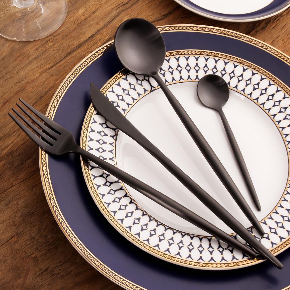 Black Silverware Sets 18 10 Stainless Steel Gold Cutlery