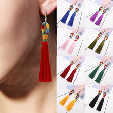 Fashion Women Bohemian Long Tassel Fringe earrings Boho Ear Stud Dangle Earrings Jewelry kolczyki pendientes(China)