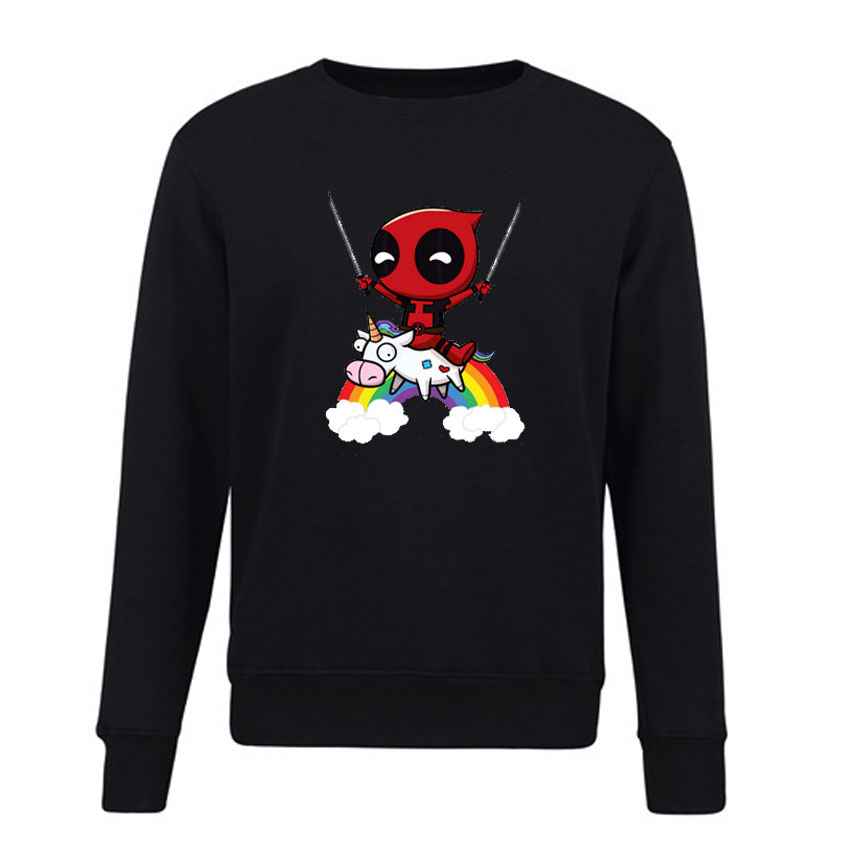 2018 Autumn Hoodies Deadpool Unicorn Print Fleece Sweatshirts Women Long Sleeve Cool Pullover Streetwear Hoody Female Plus Size Carefully Selected Materials