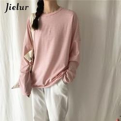 Jielur Korean Fashion Comfortable Stripe T Shirt Female Brief Slim Hipster Long Sleeve Tshirt Women Black White Autumn Top Femme 4
