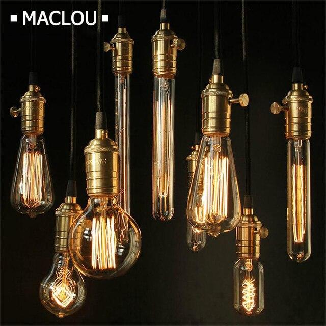 Ampoule Vintage Edison Bulb E27 220V 40W Lamp Bases G80 G125 ST64 G95 Tungsten Decor Retro Filament Luminary Lighting Bulb Light