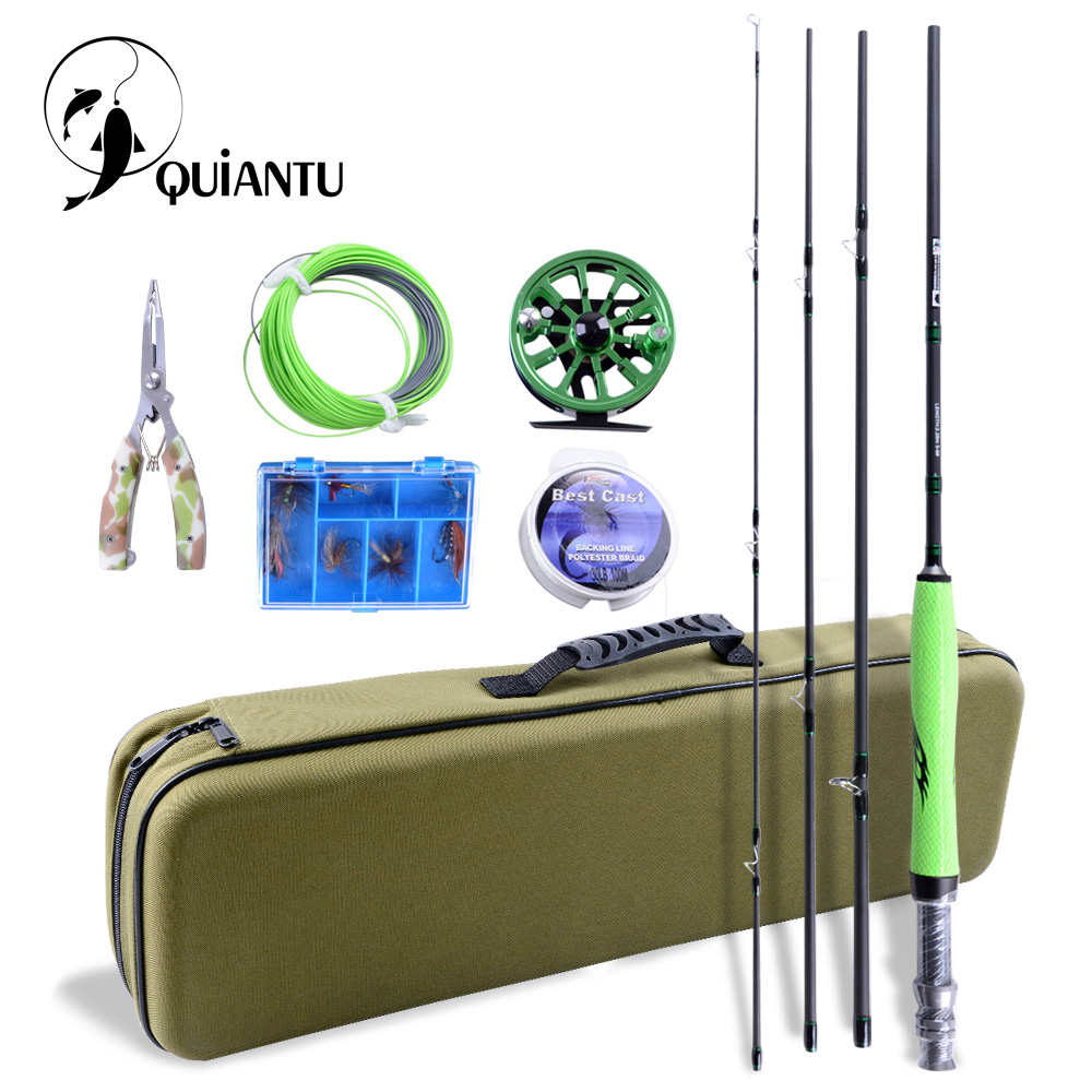 QUIANTU Fly Fishing Kit 2.28M/2.7M Fly Fishing Rod 5/6 WT CNC Precision Aluminum Fly Reel Pesca Fishing Lures Fly Fishing Line контейнеры из полимеров xeonic co ltd контейнер герметичный 1 л