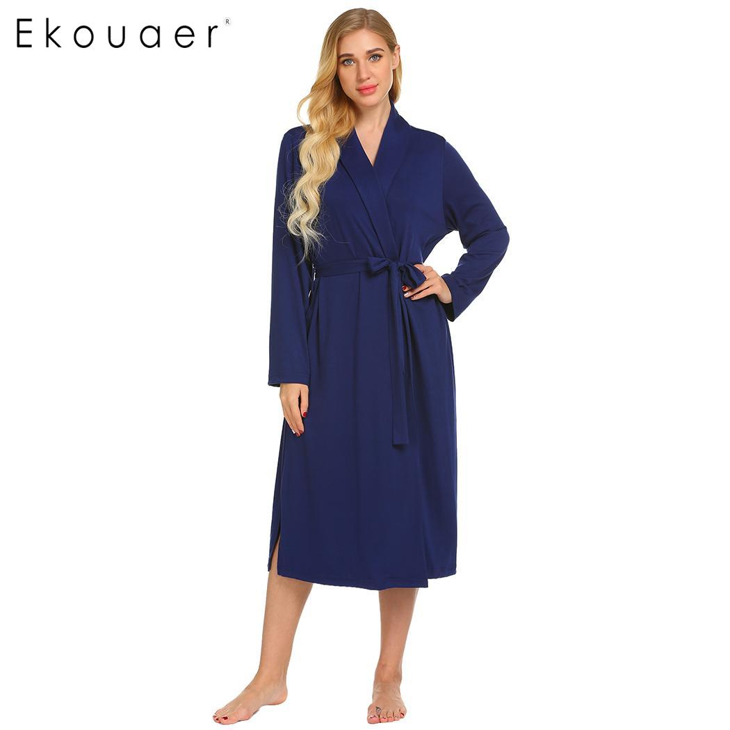 Women sleepwear robe dressing gown spa bathrobes solid long sleeve removable belt pockets elegent long robes